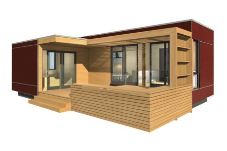 Prefab micro house contemporary wooden single story DUO 36