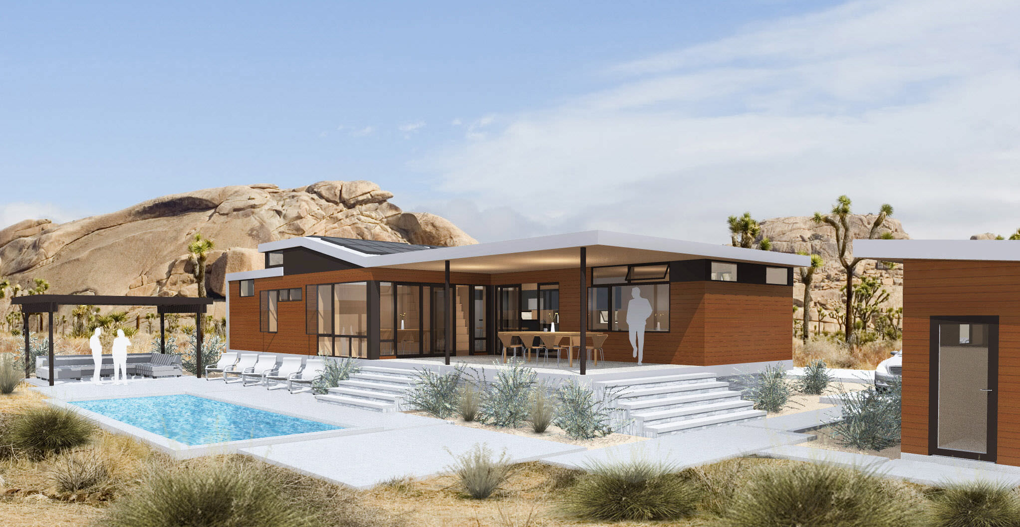 Prefab micro house contemporary wooden single story cali duo 1 sustain
