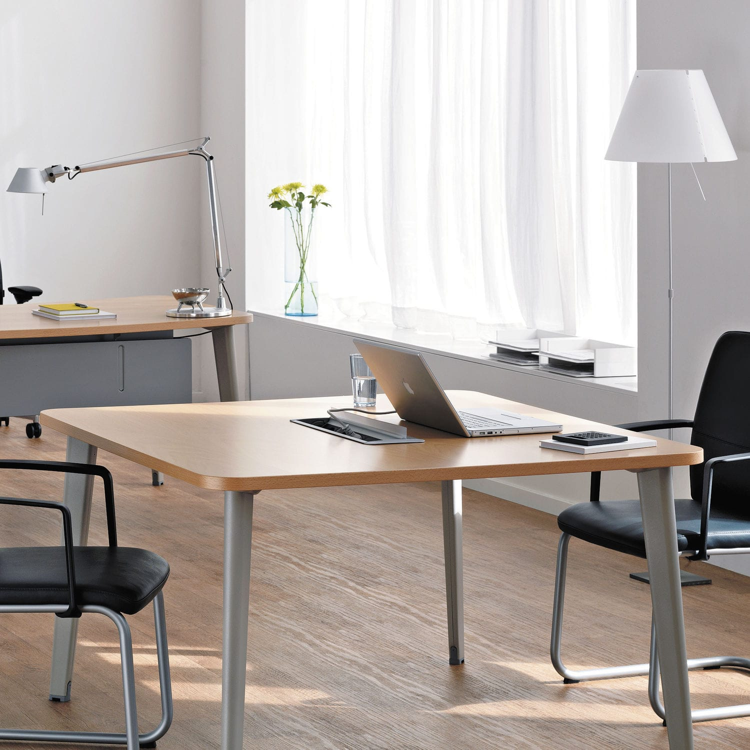 Contemporary boardroom table wooden metal laminate FUSION
