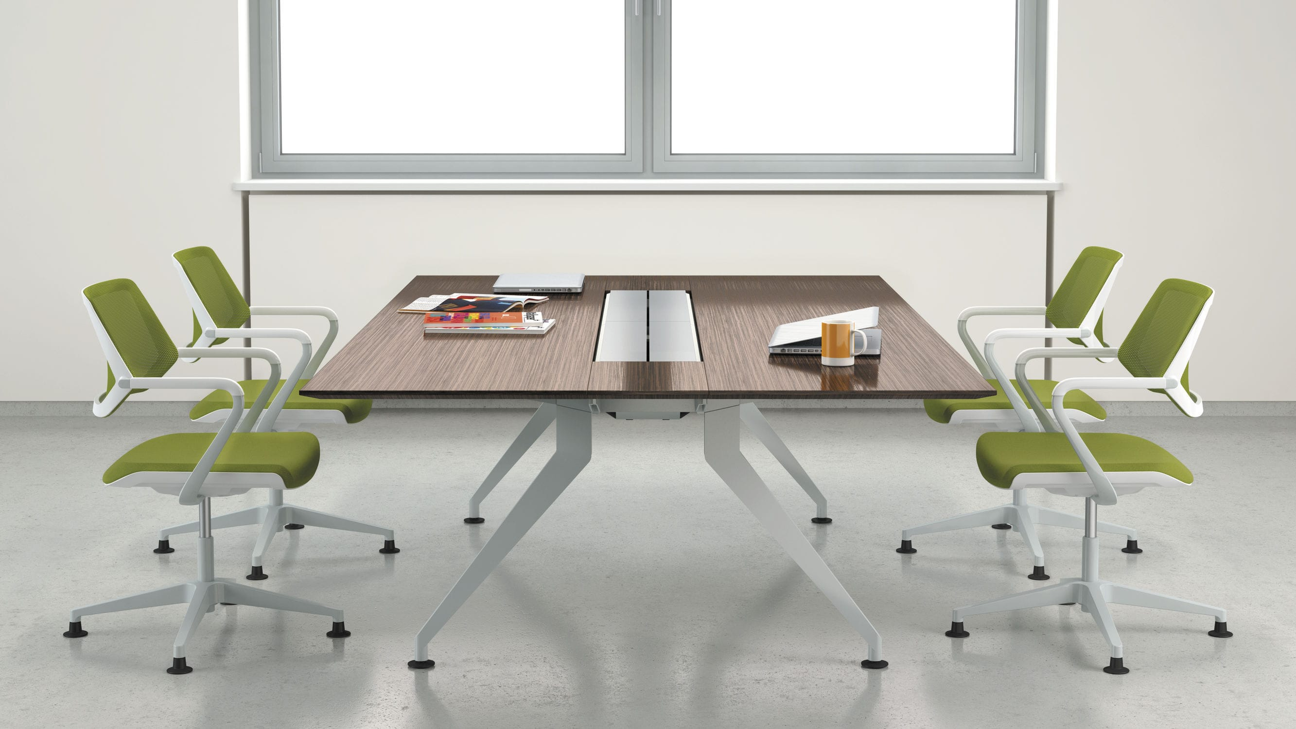 contemporary conference table / steel / melamine / laminate - 4.8
