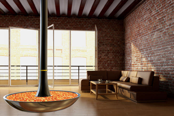 Electric fireplace original design open hearth hanging THE