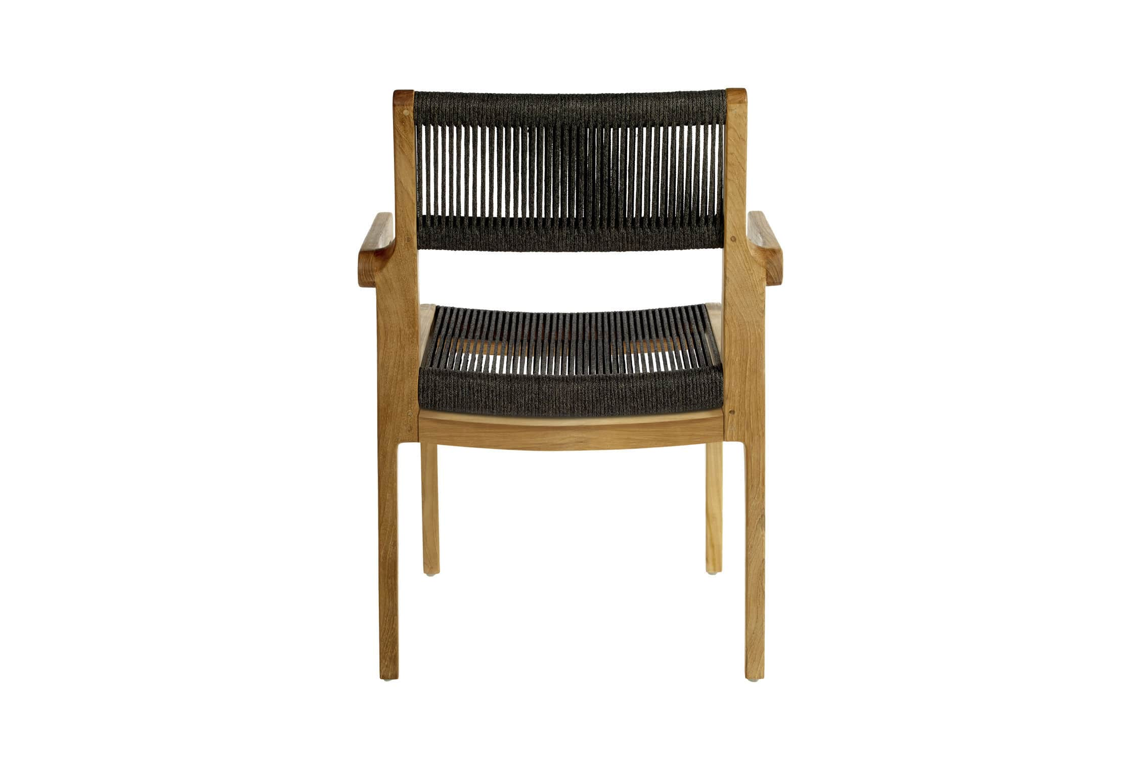 Contemporary dining chair with armrests teak outdoor