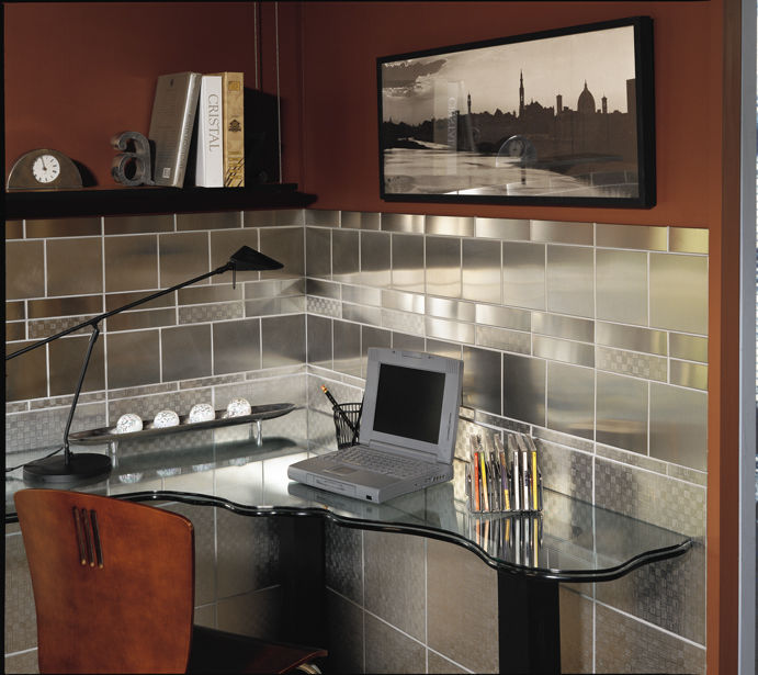 Kitchen Tile Floor Metal Brushed Stainless Steel Nemo Tile