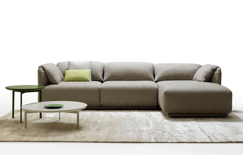 Gentil Contemporary Sofa / Fabric / Leather / Polyurethane Foam   TWIN SET By  Angeletti Ruzza