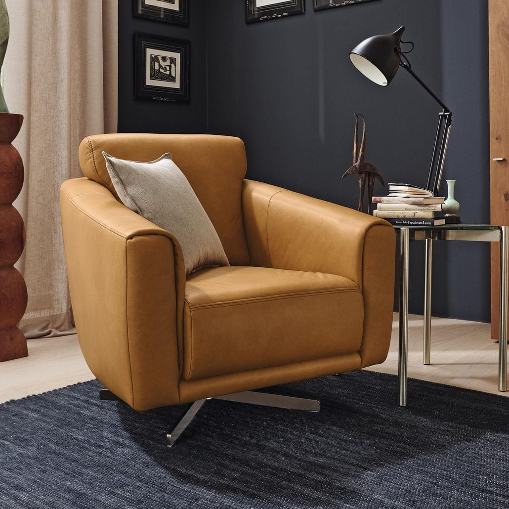 Contemporary Armchair Fabric Leather