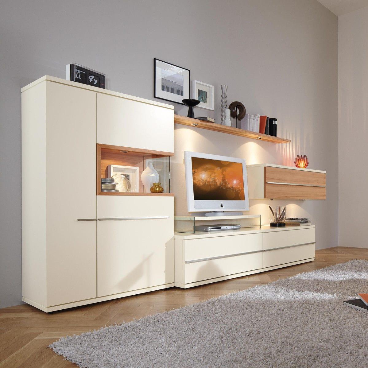 Contemporary Tv Wall Unit Oak Wood Veneer Walnut Aterno