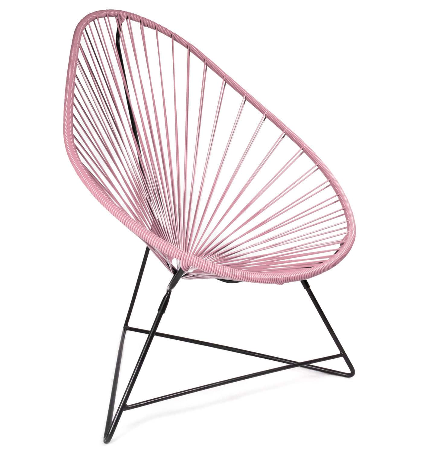 Acapulco chair vintage -  Vintage Armchair Plastic Lacquered Steel With Headrest Acapulco Structure Noire Boqa