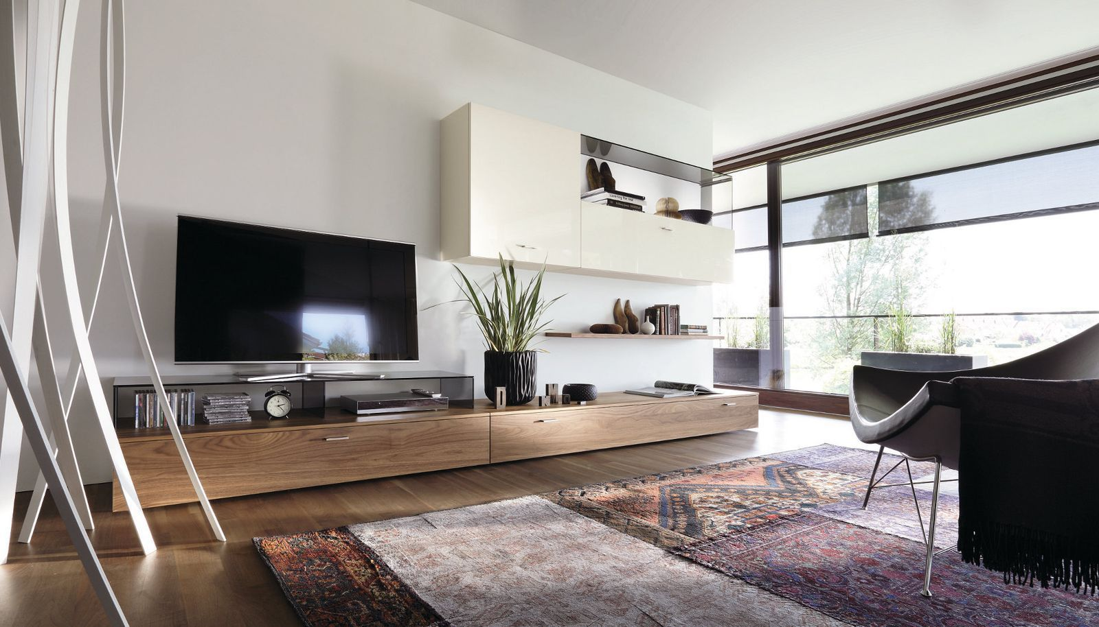 wohnzimmerwand echtholz : Contemporary Tv Wall Unit Lacquered Wood Walnut Glossy