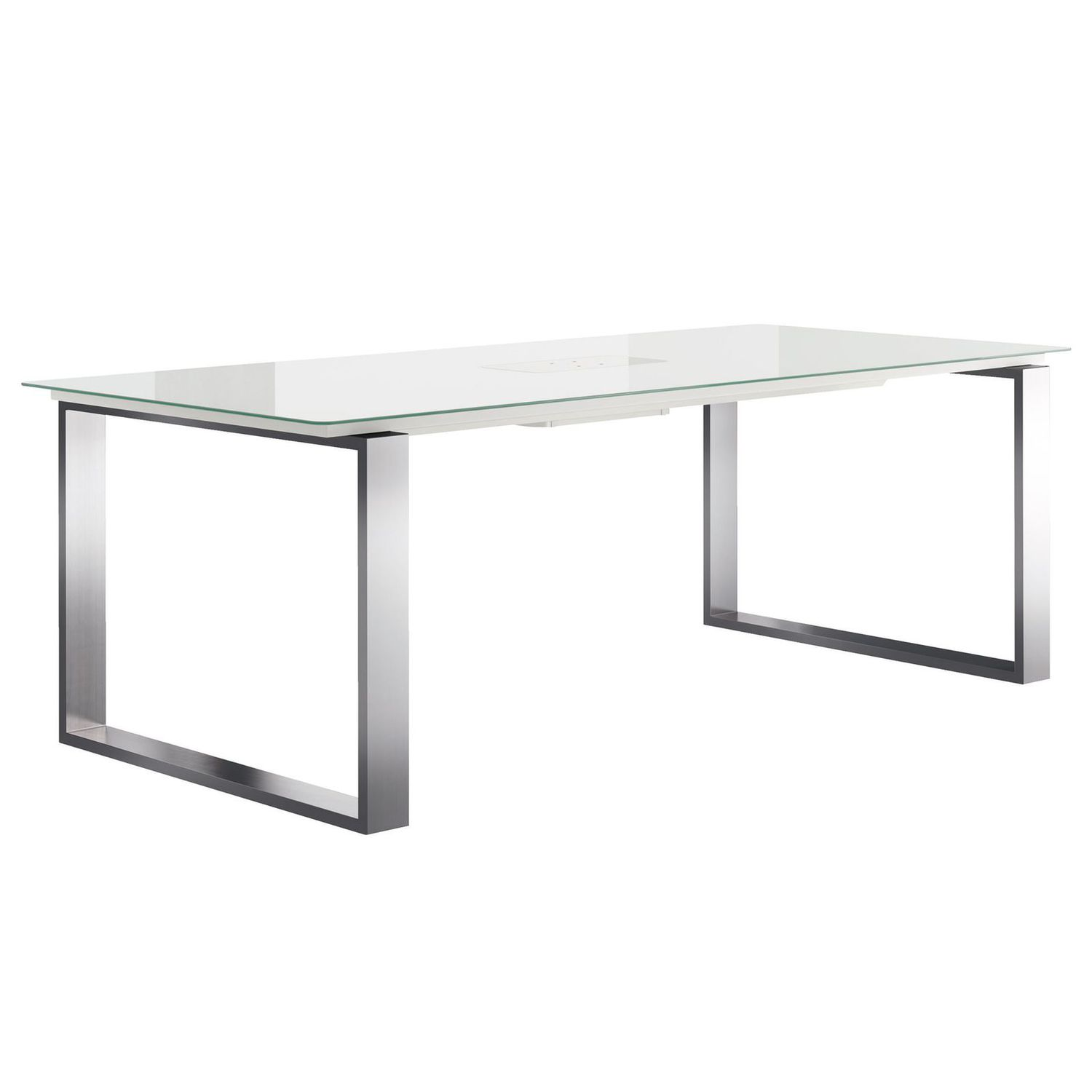 Contemporary dining table lacquered glass powder coated steel
