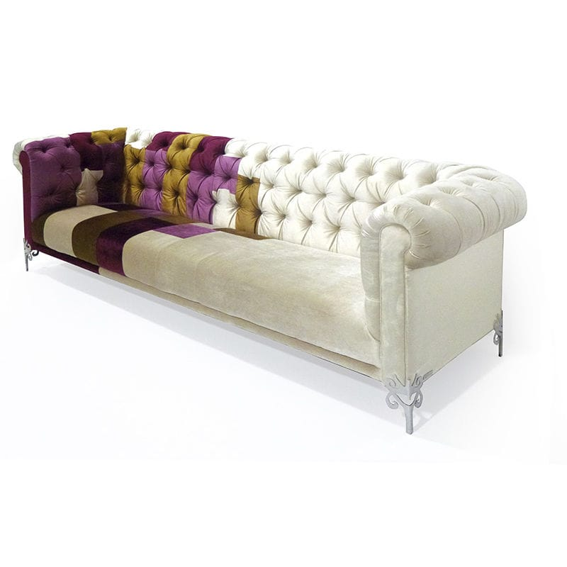 Chesterfield Sofa Fabric 3 Seater Multi Color Pessoa