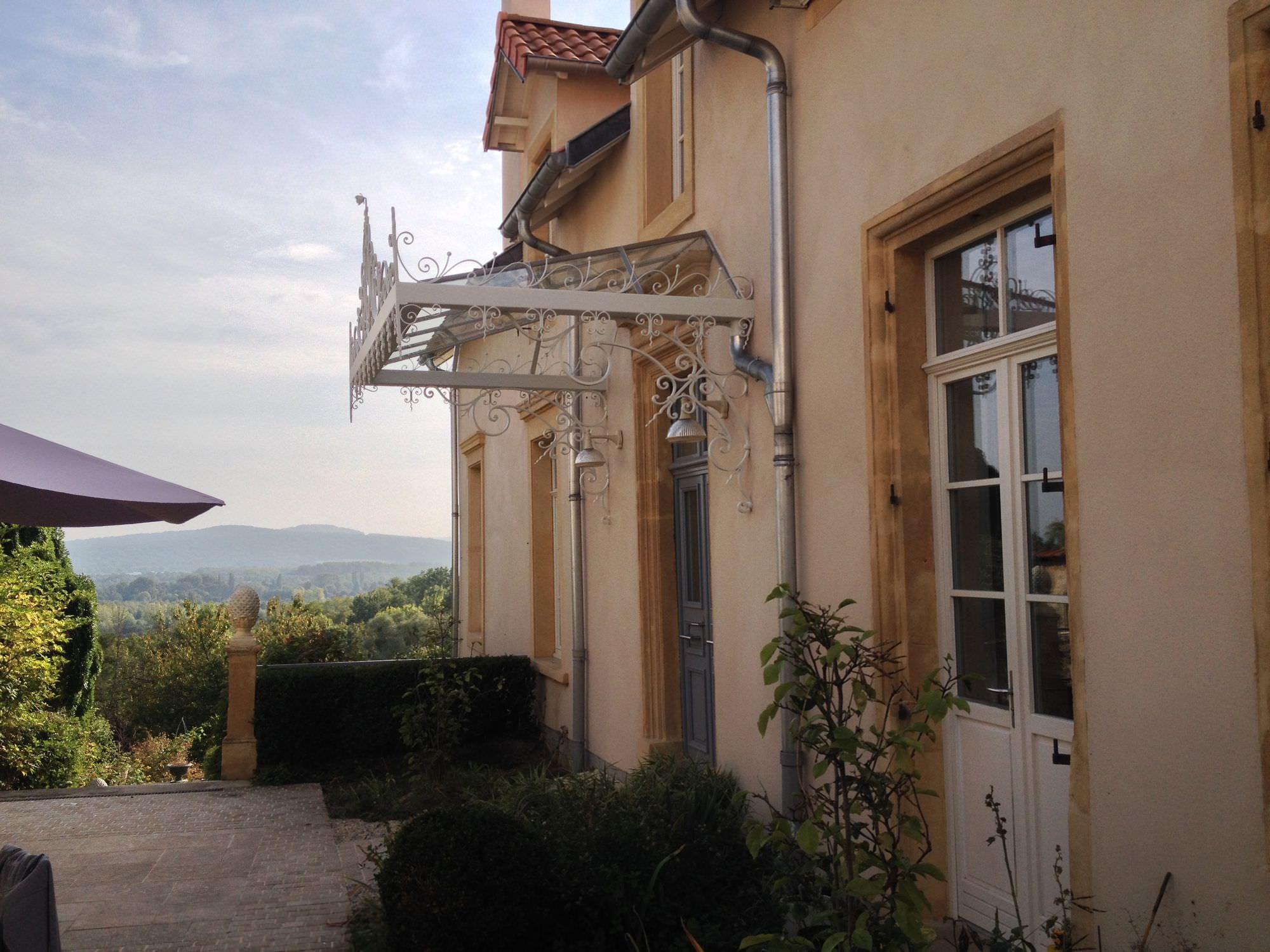 Entrance Canopy Glass Wrought Iron Precast