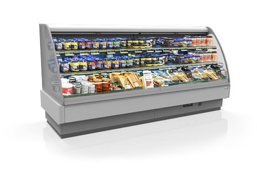 Refrigerated display case with shelves / illuminated / for shops