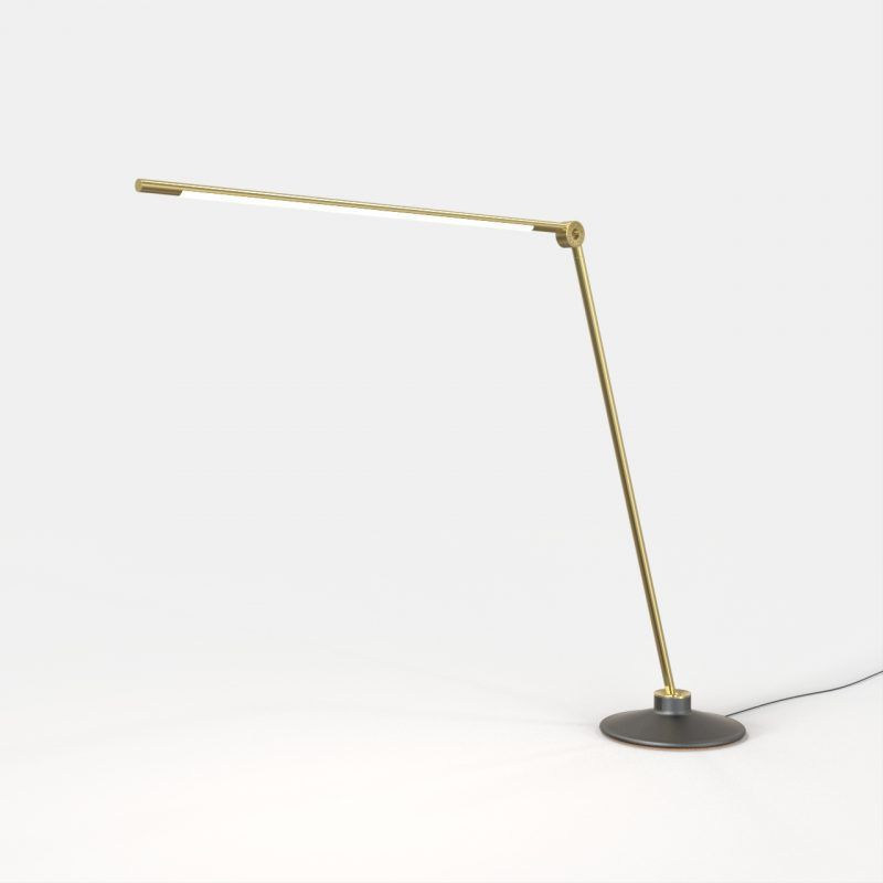 Desk lamp contemporary brass led thin by peter bristol