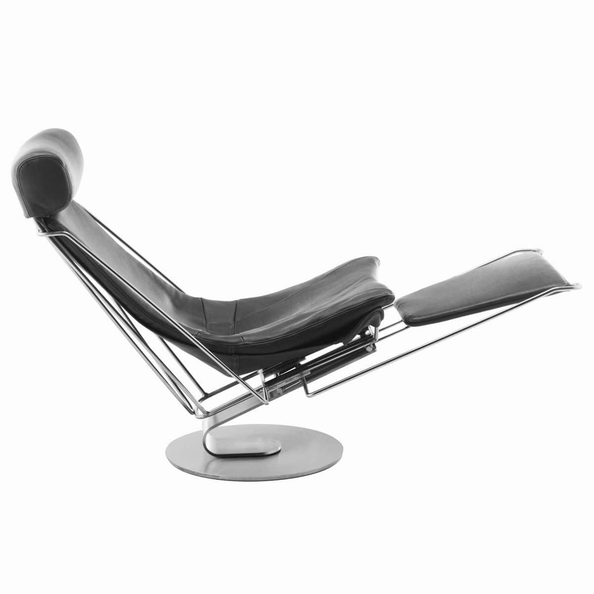 Contemporary Chaise Longue / Leather / Stainless Steel / Rocker   INTERDANE  By Oluf Lund
