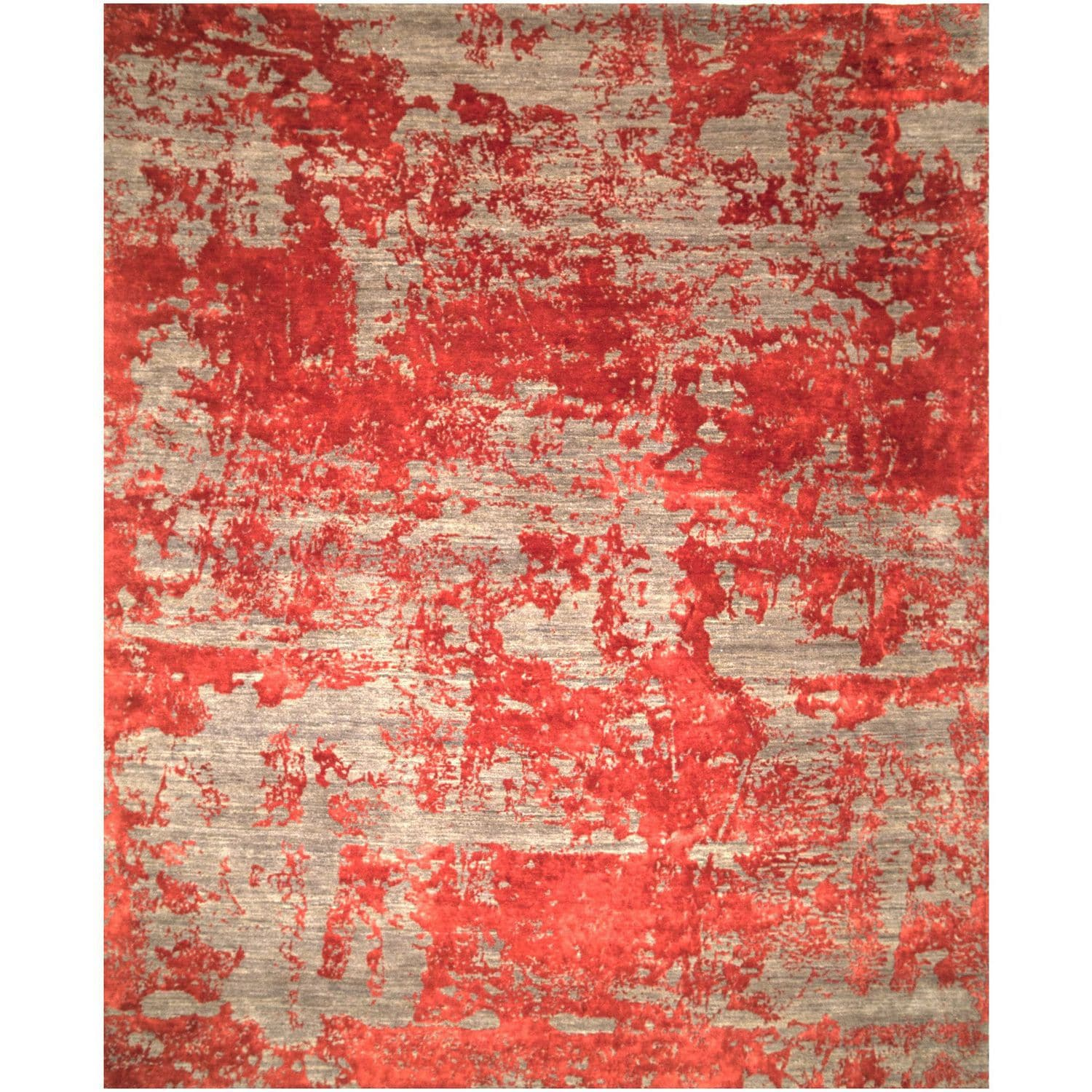 Contemporary Rug Patterned Wool Viscose Red Grey 14665