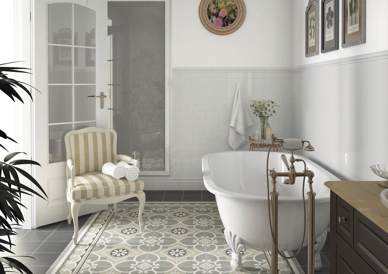 Bathroom Tile Floor Cement Art Nouveau Caprice Nais