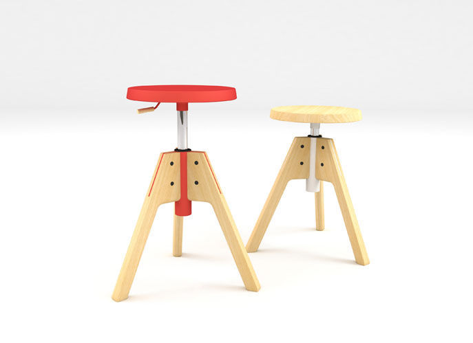 Contemporary Stool / Solid Wood / Ash / Adjustable Height   PICO By  Emiliana Design Studio