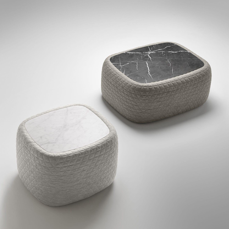Contemporary coffee table marble fabric rectangular BIGUN