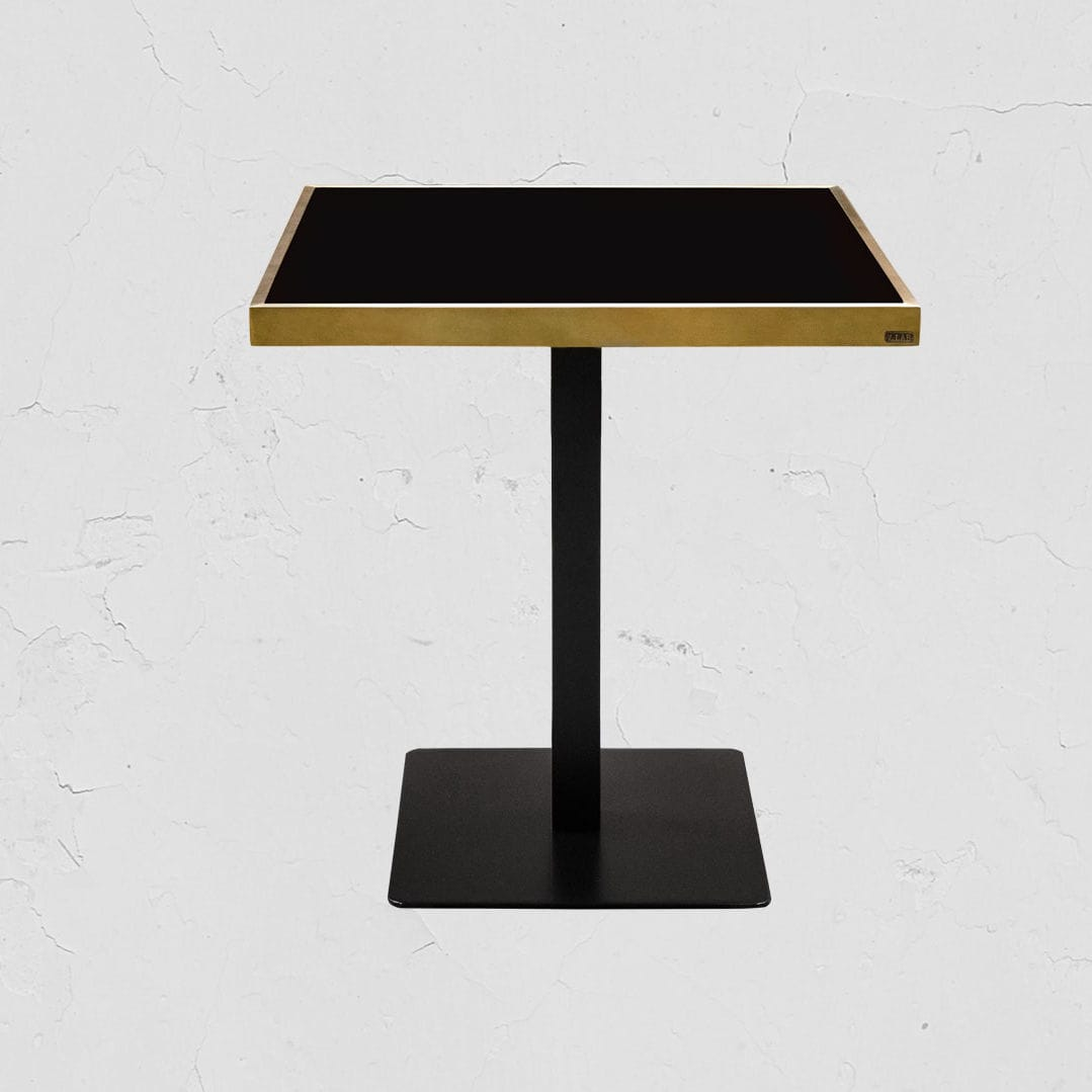 Contemporary dining table / glass / stainless steel / iron - GERMAIN ...