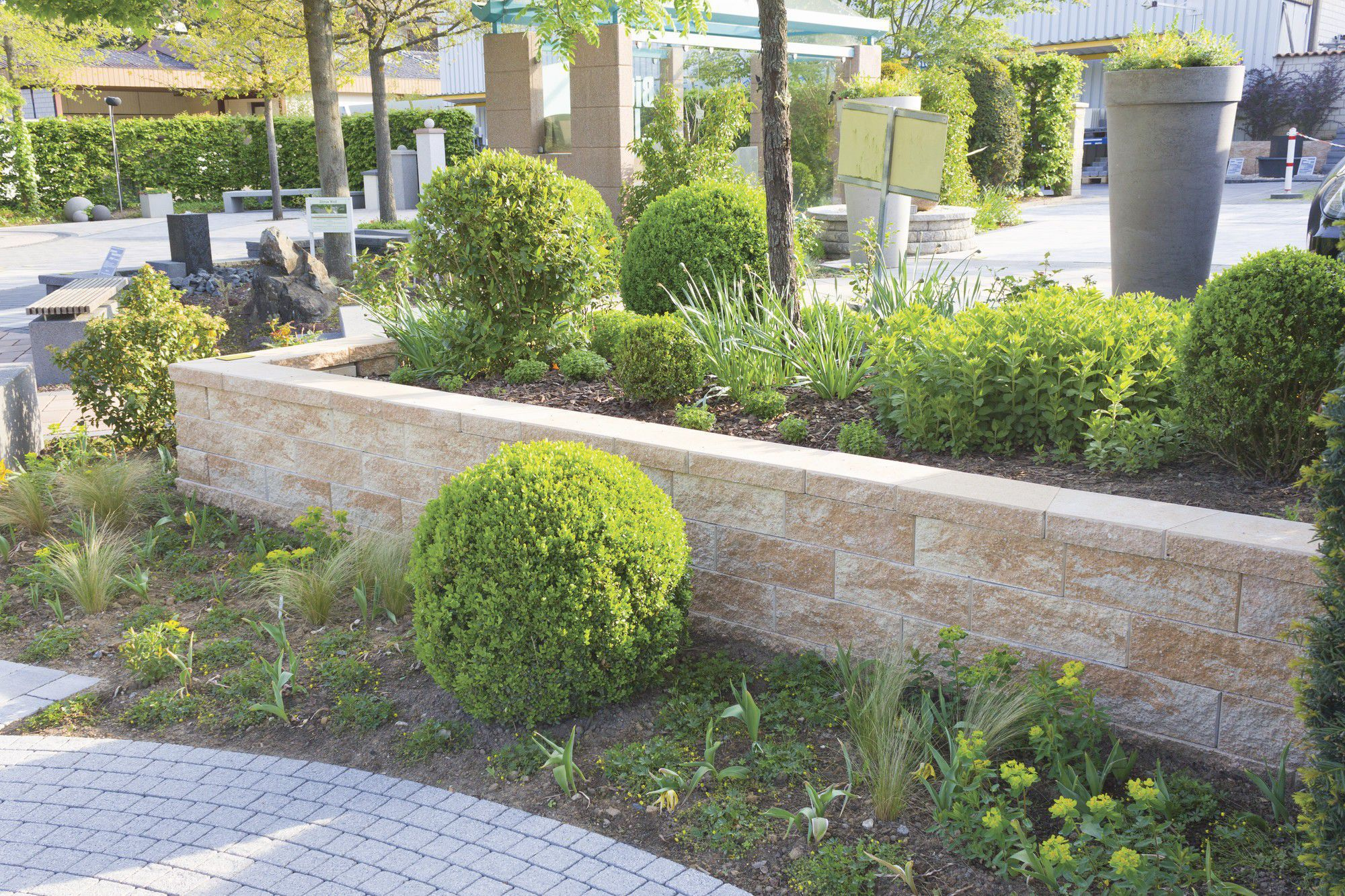 Stone retaining wall modular for garden enclosures YORK