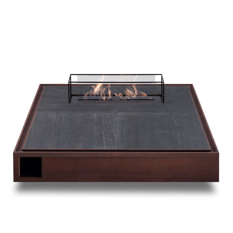 Contemporary Coffee Table Stone Square With Bioethanol Burner Pyra