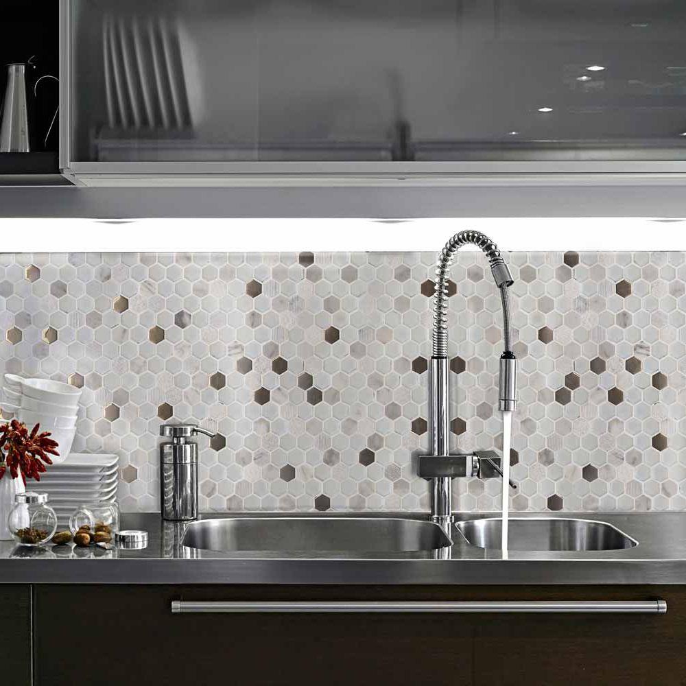 Bathroom mosaic tile / kitchen / wall / glass - HEXÁGONO - Mosavit