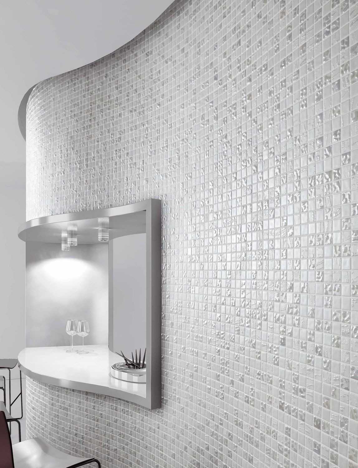 Indoor mosaic tile / wall / glass / white - TRENDY - Mosavit