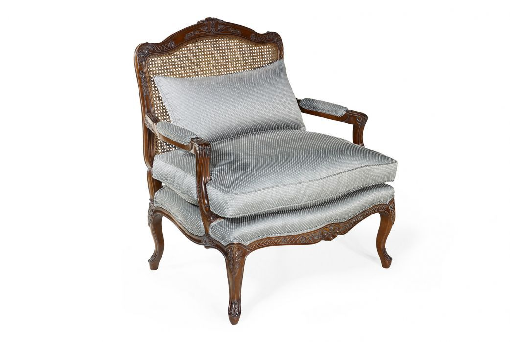 French Style Armchair / Fabric / Leather / Oak ...