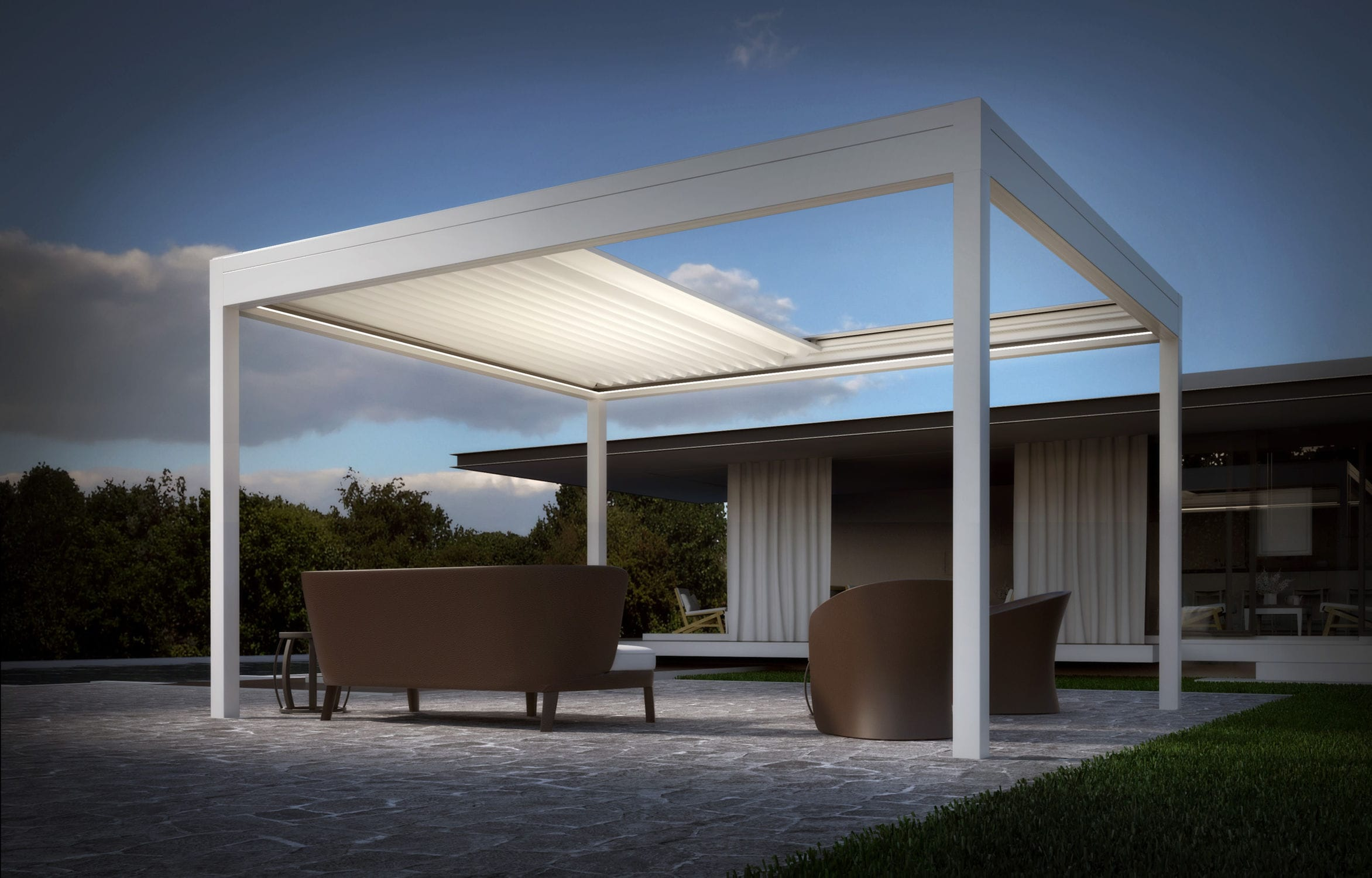 Self-supporting pergola / aluminum / fabric canopy / PVC fabric sliding canopy - ARMONIA AUTOPORTANTE & Self-supporting pergola / aluminum / fabric canopy / PVC fabric ...