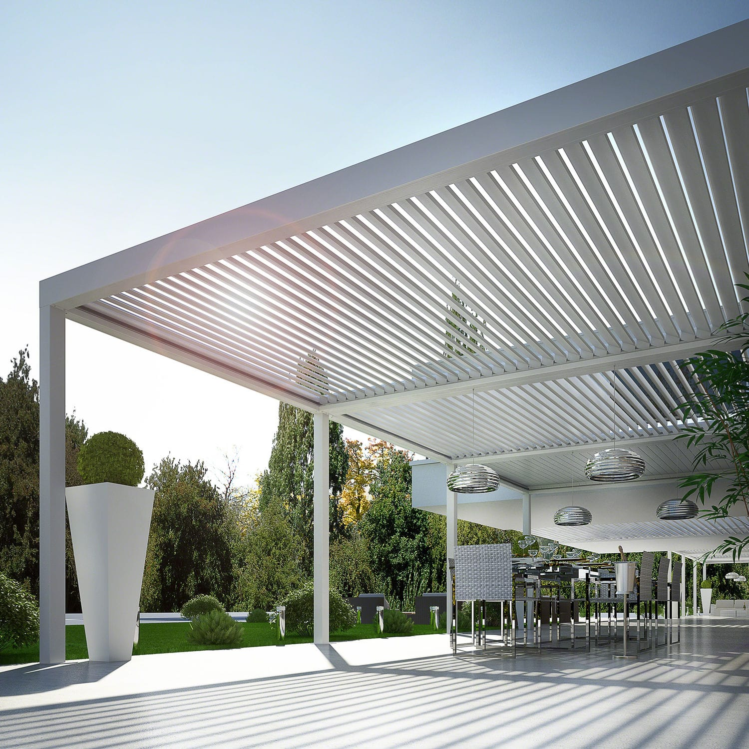 wall-mounted pergola / aluminum / with mobile slats / sun shade louvers -  BIOSHADE - Wall-mounted Pergola / Aluminum / With Mobile Slats / Sun Shade