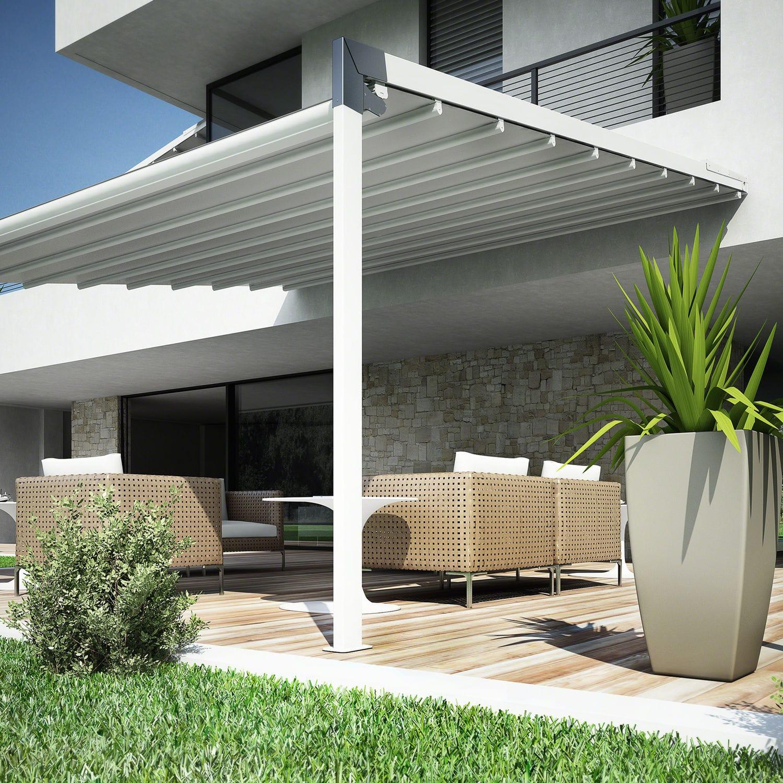 Wall-mounted pergola / aluminum / PVC fabric sliding canopy / custom ...