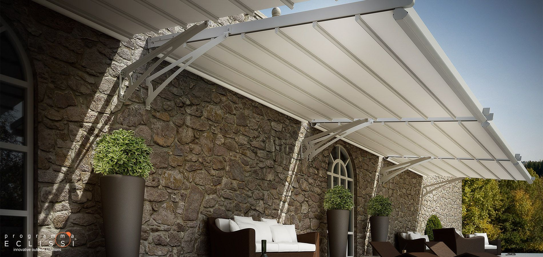 ... Wall-mounted pergola / aluminum / stainless steel / PVC fabric sliding canopy FLY DIRELLO & Wall-mounted pergola / aluminum / stainless steel / PVC fabric ...