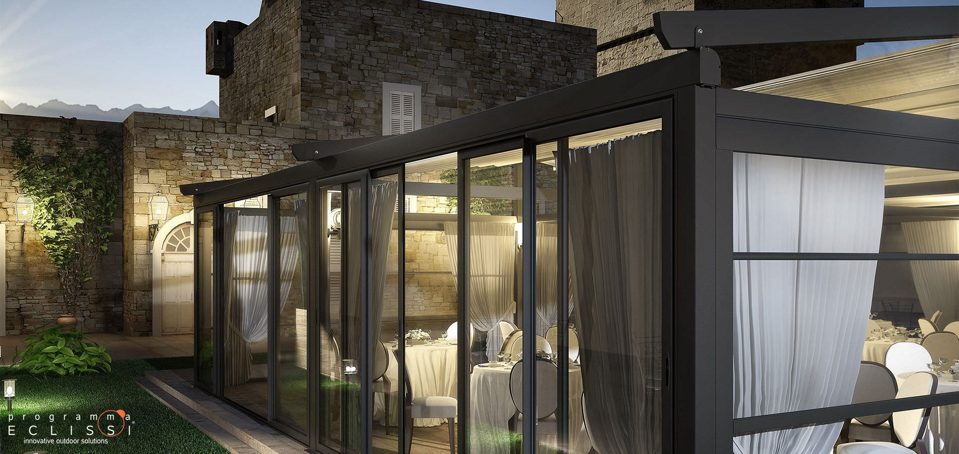 Self-supporting pergola / aluminum / PVC fabric sliding canopy ...
