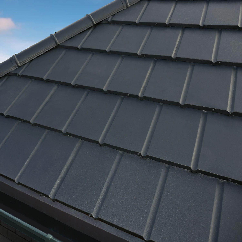 metal roof tile flat gray smooth novatik slate - Flat Metal Roof