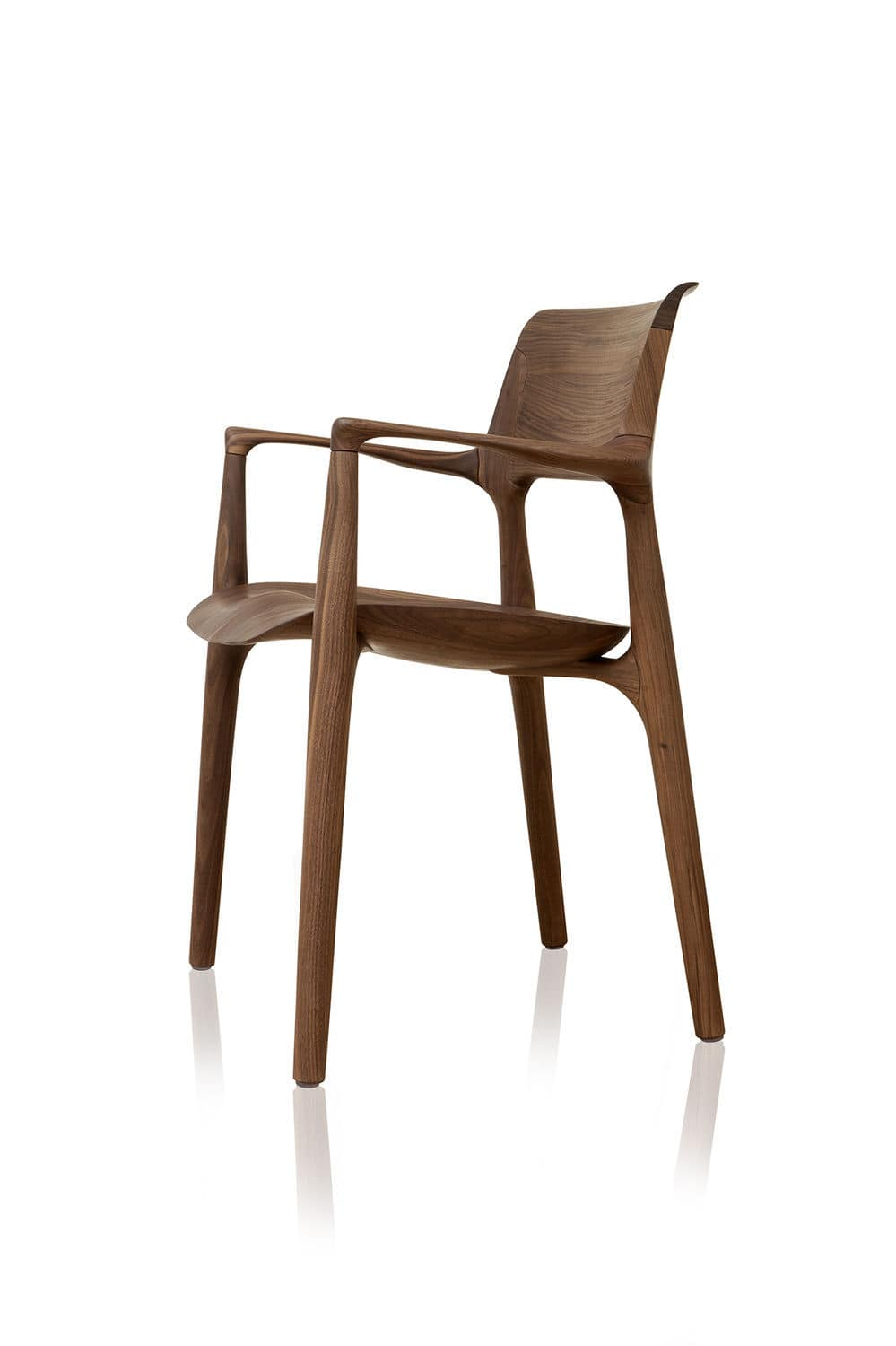 Wooden chairs with armrest - Contemporary Chair Bentwood Wooden Upholstered Easy By Jader Almeida