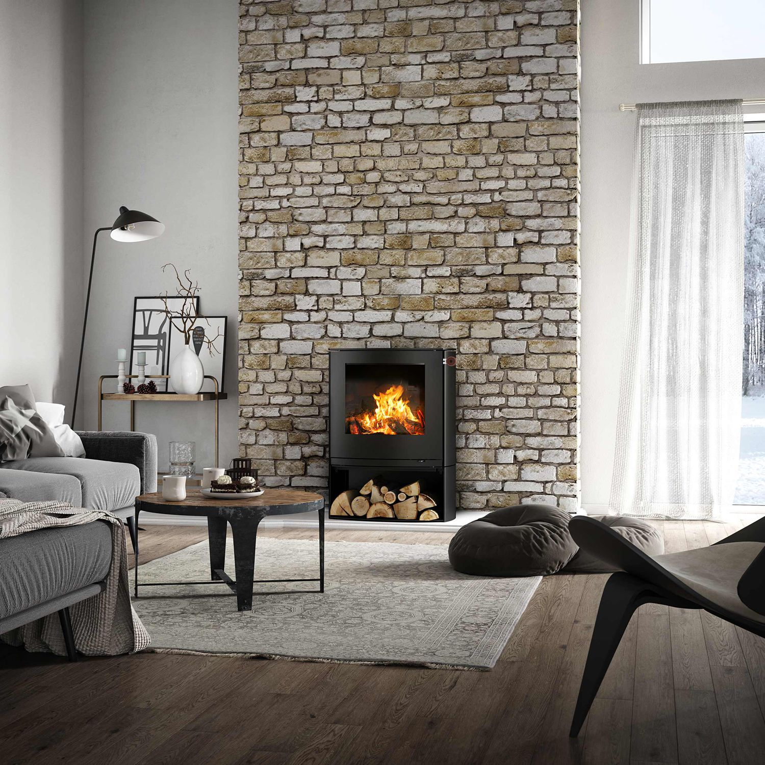 Wood heating stove / contemporary / steel - Q-TEE 2 C