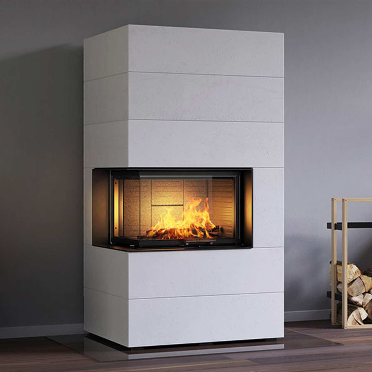 Wood Burning Fireplace Insert Corner Visio 2 Element Attika