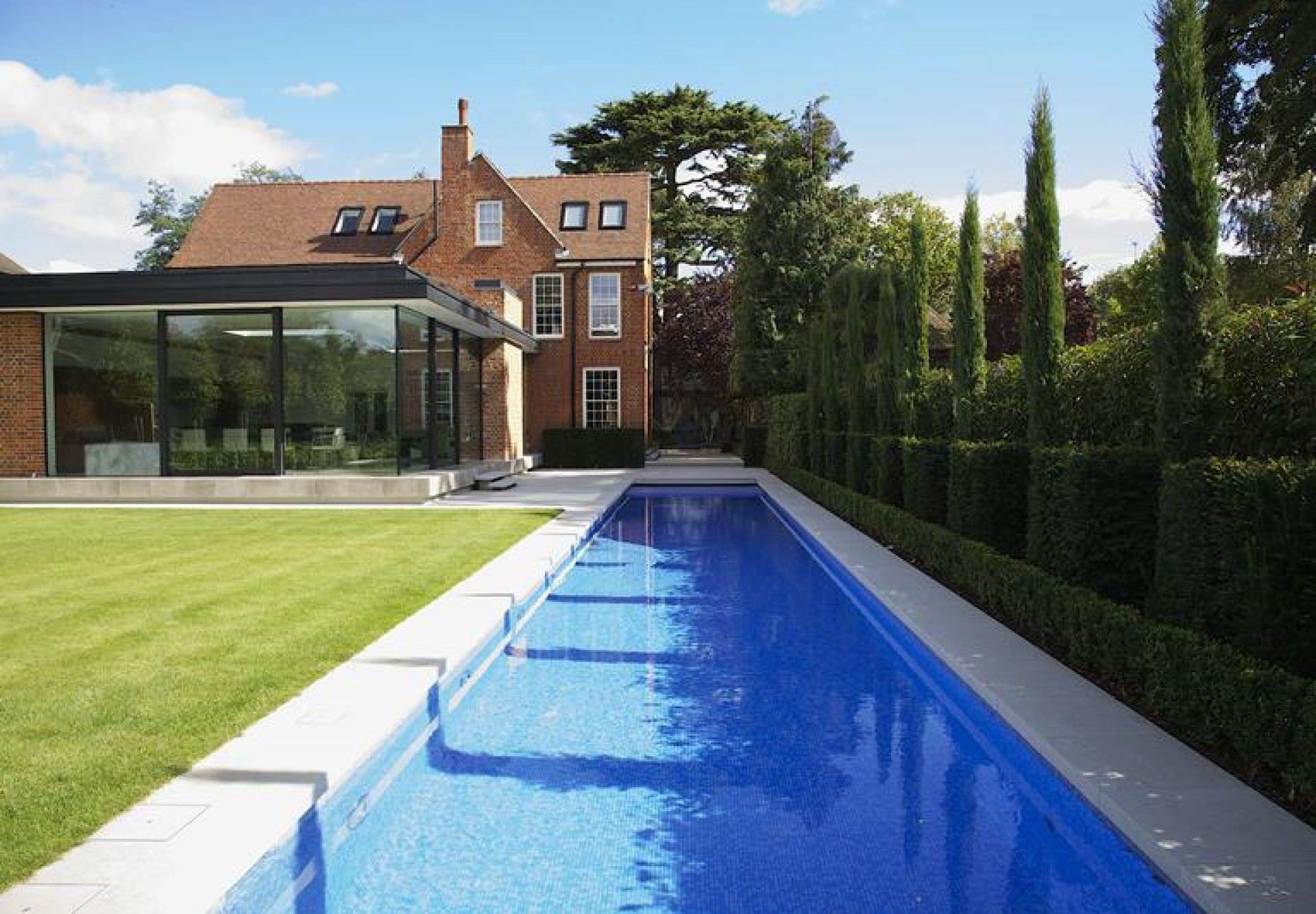 In-ground swimming pool / concrete / lap / mosaic - BESPOKE ...