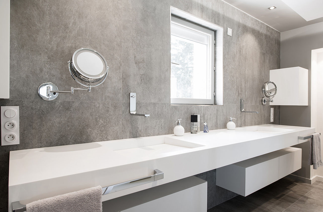 Double Washbasin Wall Mounted Rectangular Solid Surface 3