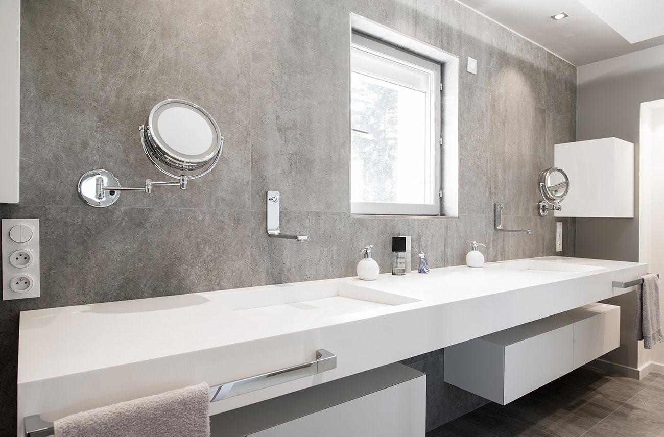 Salle De Bain Archi Expo ~ double washbasin wall mounted rectangular solid surface 3