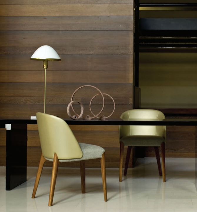 Contemporary chair / wooden / leather / with armrests BELLEVUE by This  Weber Very Wood ...