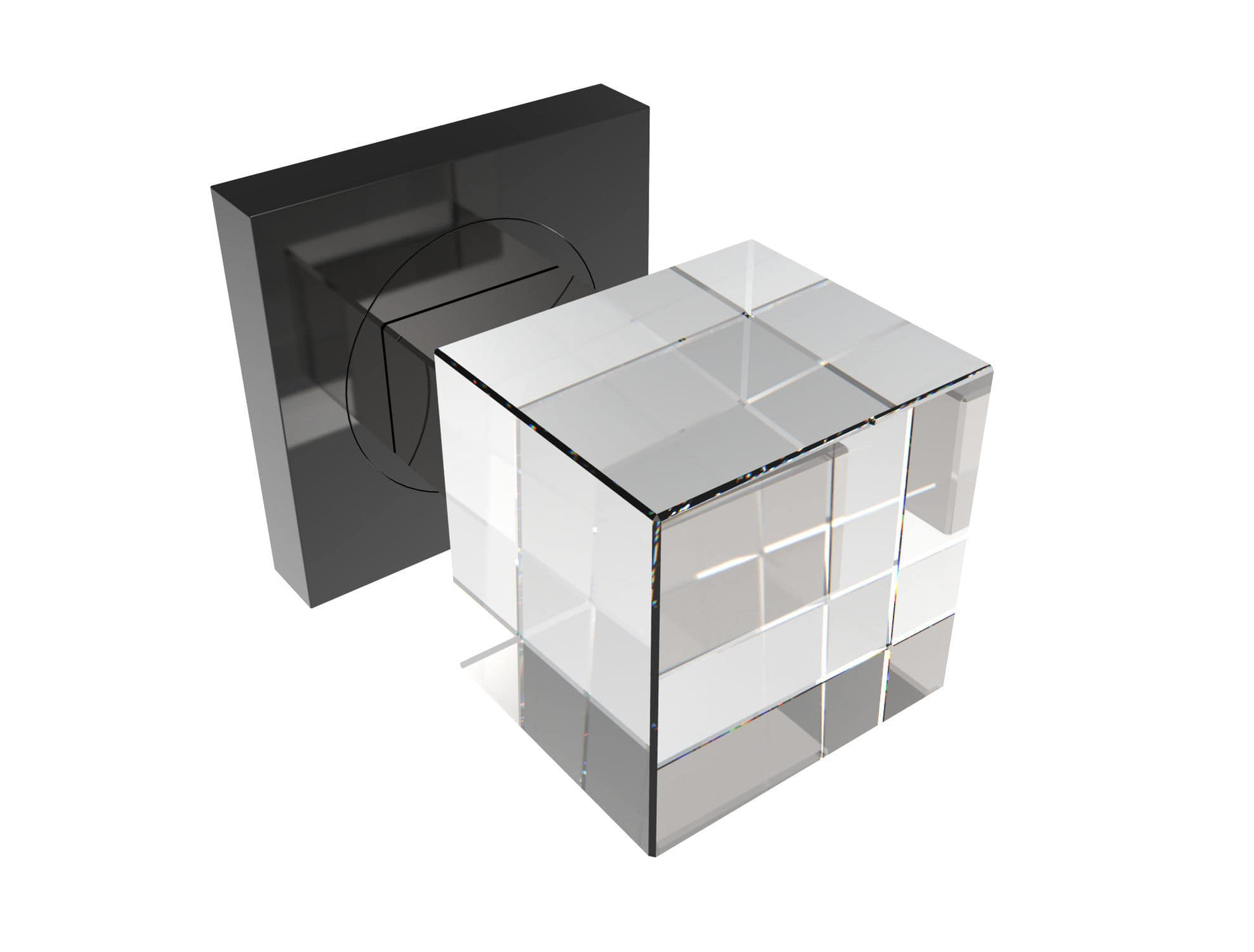 Contemporary door knob / crystal - CUBE S SQ SATIN - GUIDERO Holland BV