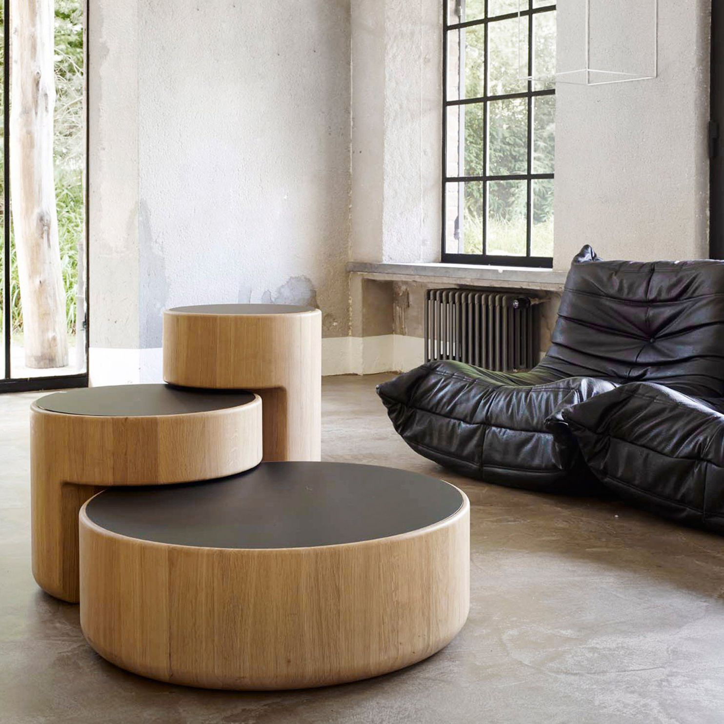 contemporary nesting tables oak solid wood glass levels by
