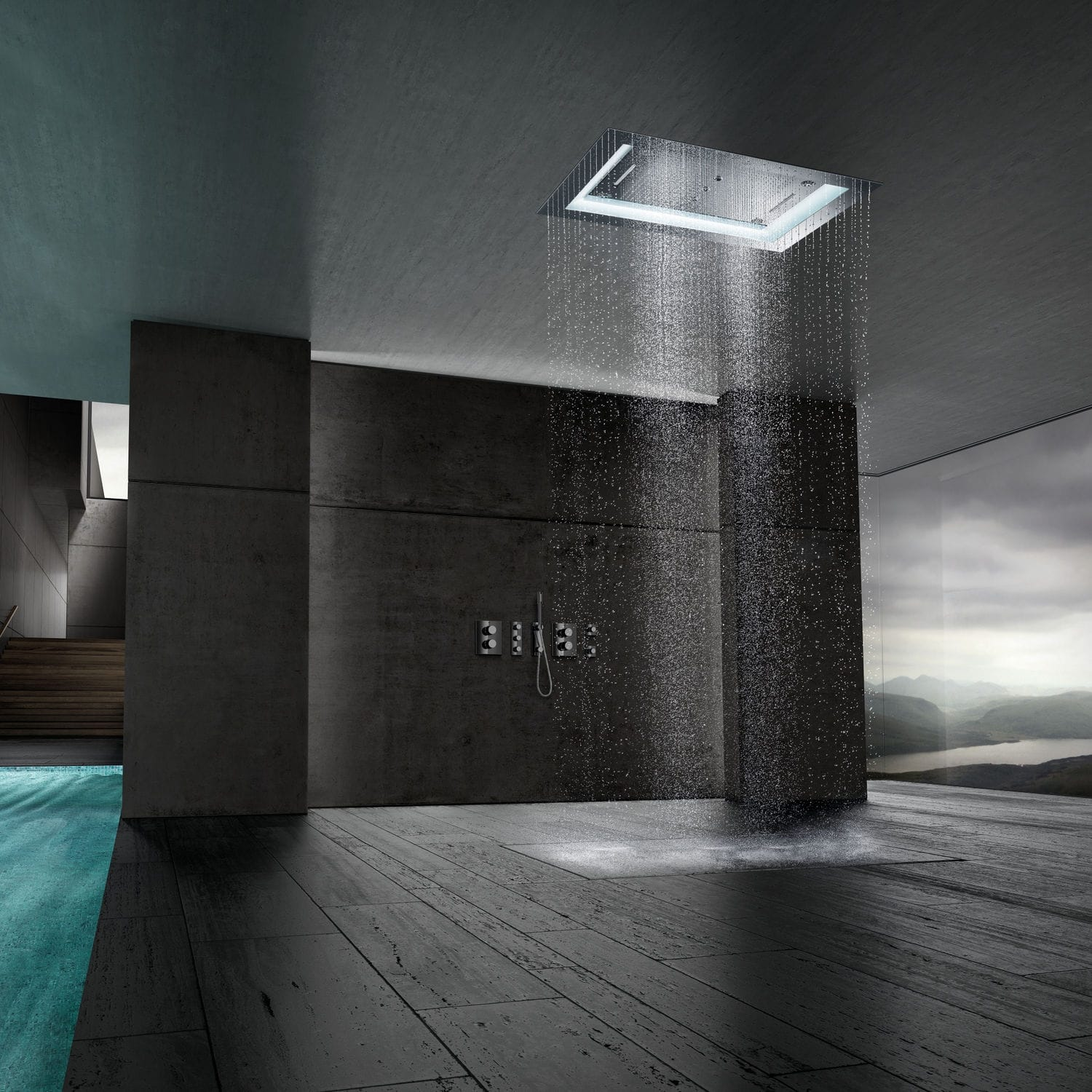 recessed rain shower head. Recessed ceiling shower head  rectangular rain with built in light AQUASYMPHONY RAINSHOWER