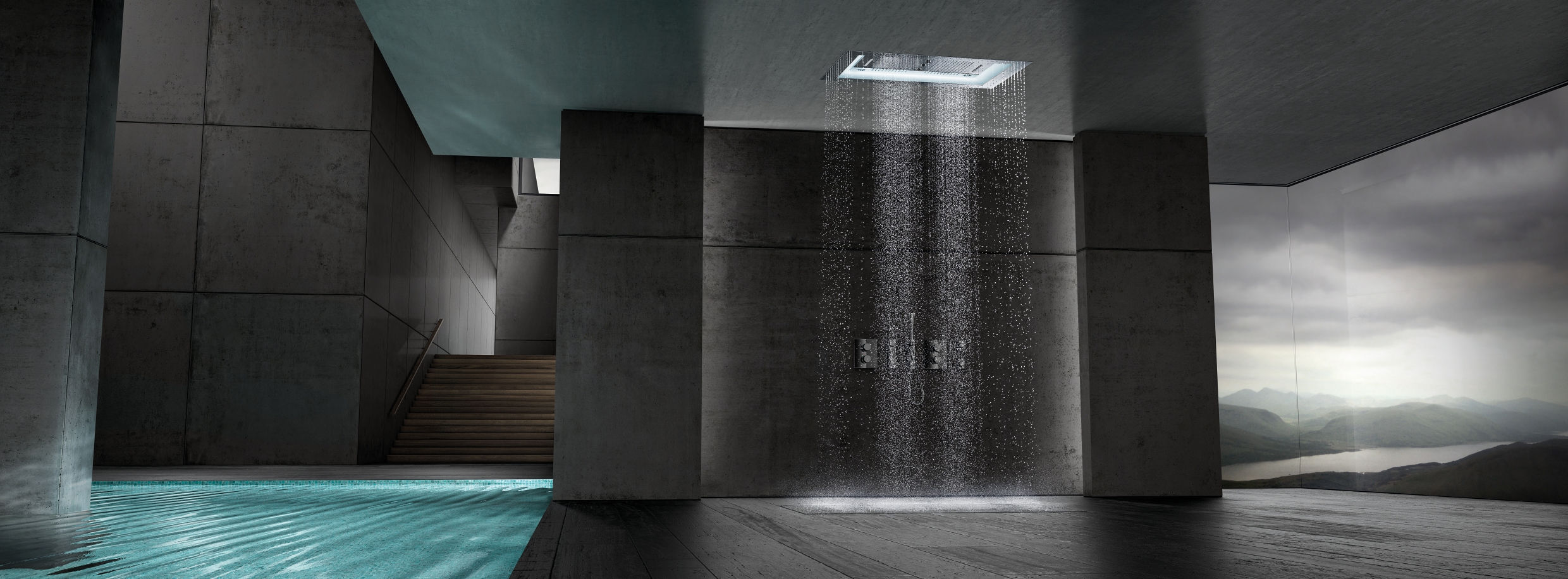 Recessed ceiling shower head rectangular rain with built in light AQUASYMPHONY RAINSHOWER