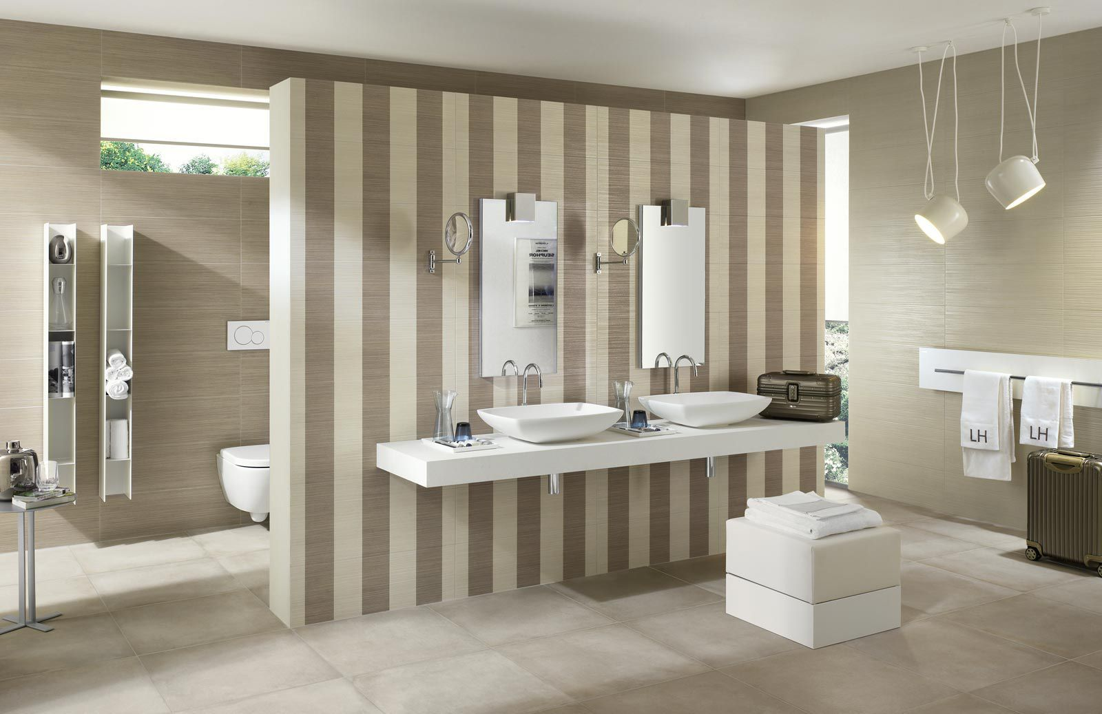 Bathroom Tile Wall Ceramic Striped Wallpaper Ragno