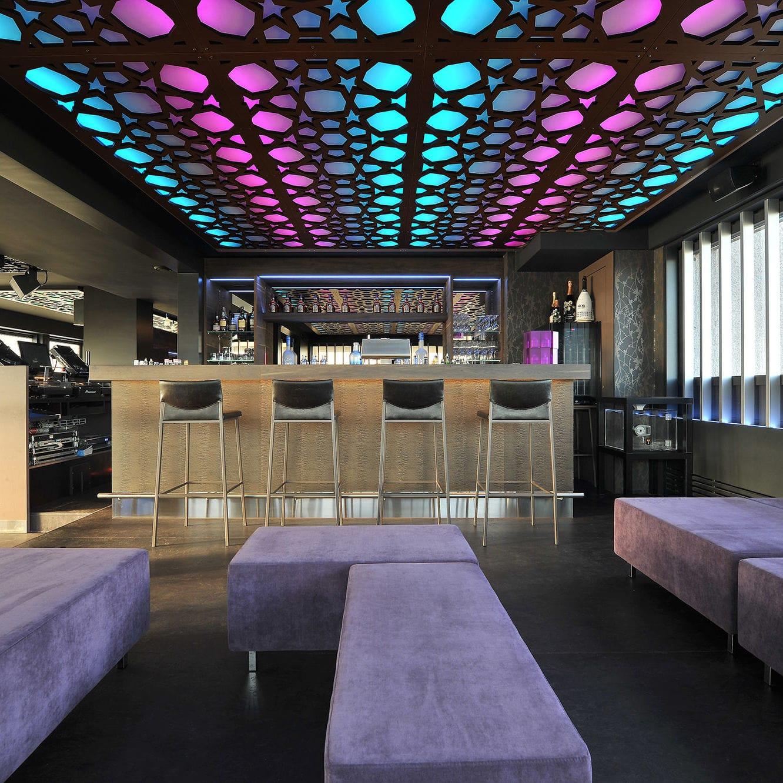 False Ceiling Acoustic Panel Mdf Decorative Backlit Club L Étage Wil