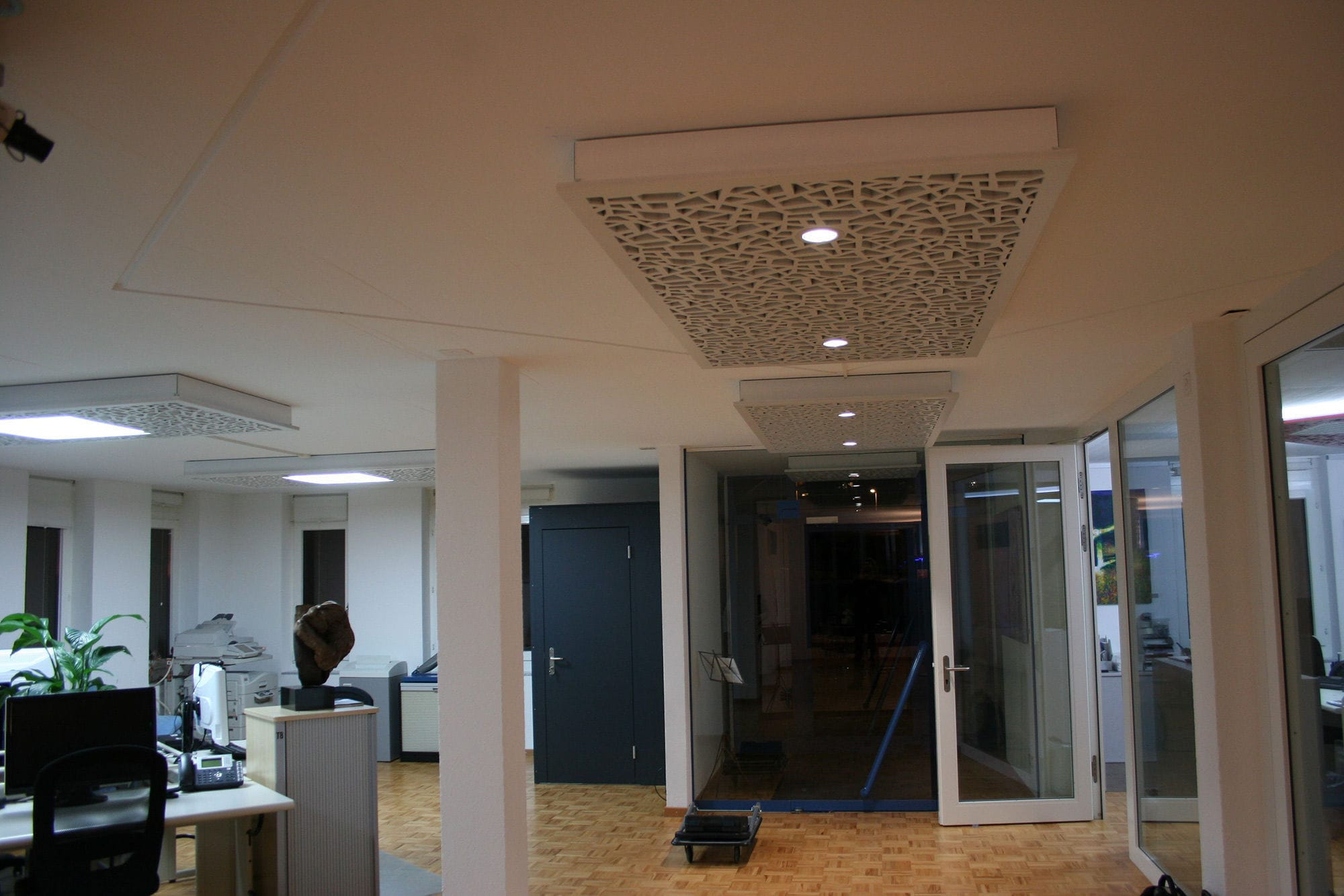 office false ceiling. False Ceiling Acoustic Panel / MDF Decorative Commercial OFFICE HUMAN BIOS KREUZLINGEN Bruag Office