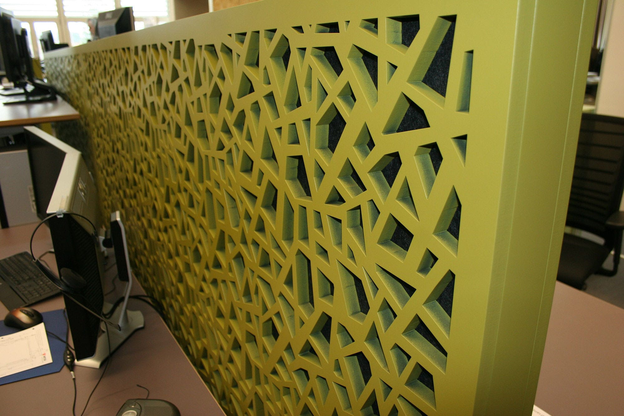 Partition wall acoustic panel / MDF / decorative / perforated ...