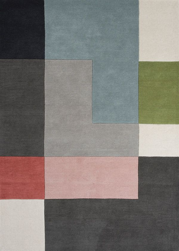 Contemporary Rug Patterned Wool Rectangular Tetris Linie